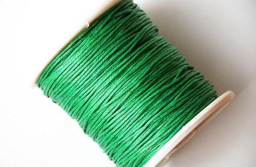 voskovaná šňůrka 10m- středně zelená