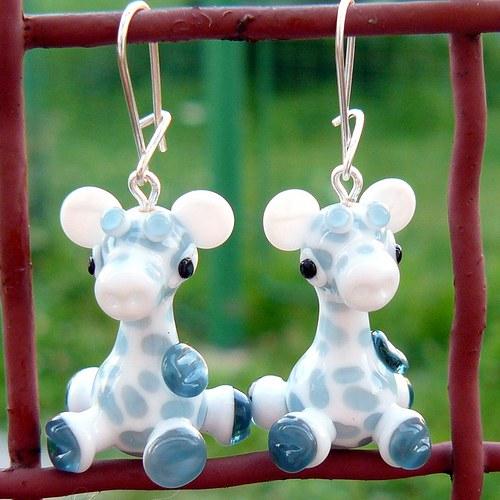 Náušnice bílá žirafa - vinuté perle