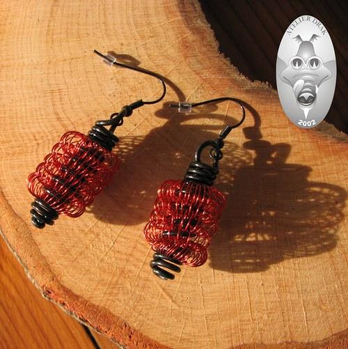 Červené drátěnky...náušnice