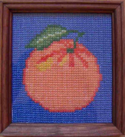 Vyšívaný obrázek - mandarinka s pozadím
