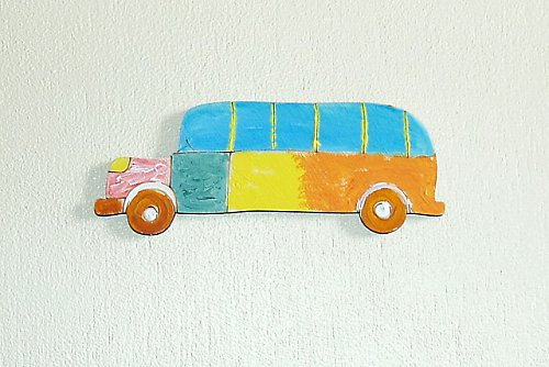 Značky na třídění prádla- autobus barevný