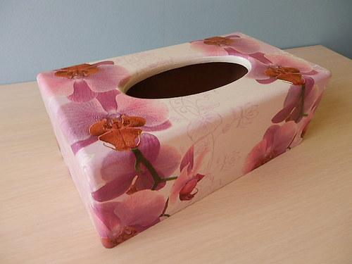 Krabička na kapesníky Růžová orchidej