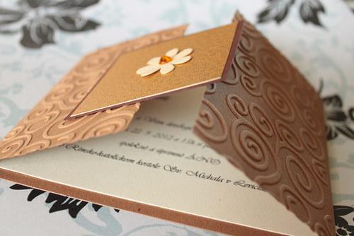 Svadobné oznámenie - hnedá so zlatou