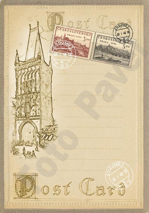 Vintage motiv -  Kartička poštovní5