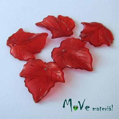Akrylové transparentní lístečky, 5ks, červené
