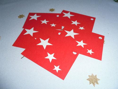 Jmenovka na dárečky - červená - hvězda - 5ks
