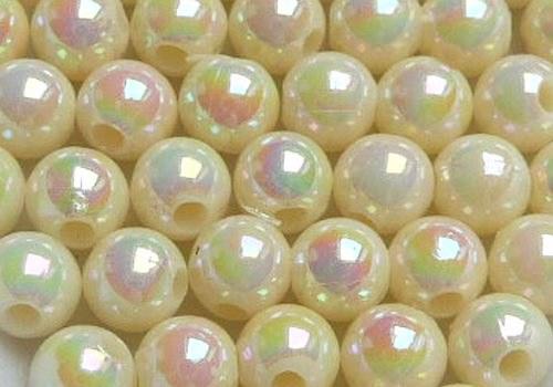 Plastové kuličky duhové 4 mm - krémová / 20 ks
