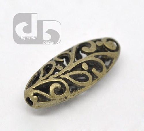Bronzové podlouhlé duté korálky 2 ks