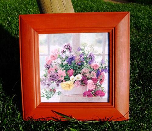 """Obrázek \""""Květiny v okně\"""" tmavý"""