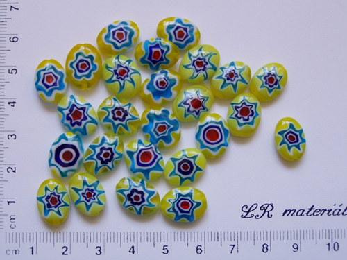 Skleněné korálky Millefiori - žluté oválky 1ks