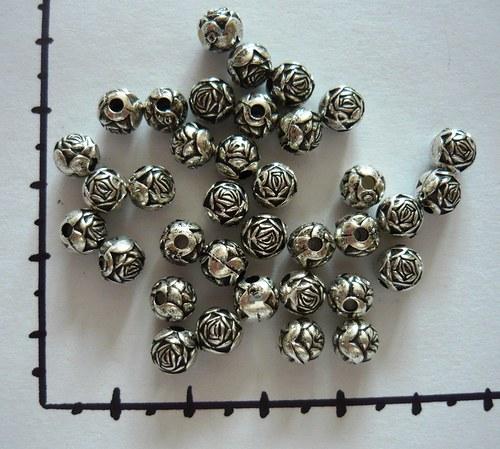 Pokovená kulička - růže starostříbrná, 6ks