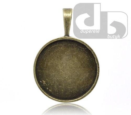 Bronzový přívěšek kolečka, lůžko na pryskyřici