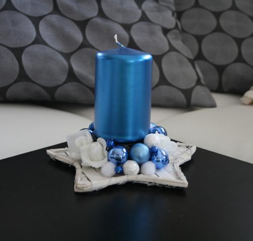 Vánoční svícínek - hvězda menší do modra