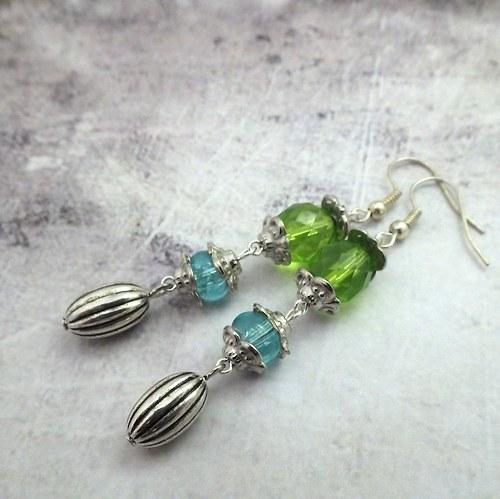 Náušnice Green drops, VÝPRODEJ!!!