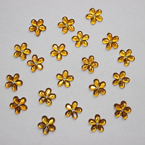 Našívací květinka - zlatá - 20ks
