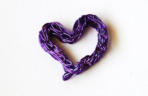 Srdíčko z drátu - fialové