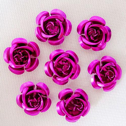 kovový korálek růže/ fialovorůžová/ 15 mm/ 10ks