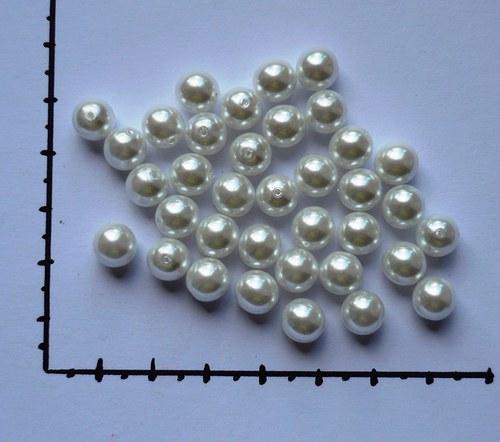 Perličky skleněné voskované 8mm bílé, 36ks