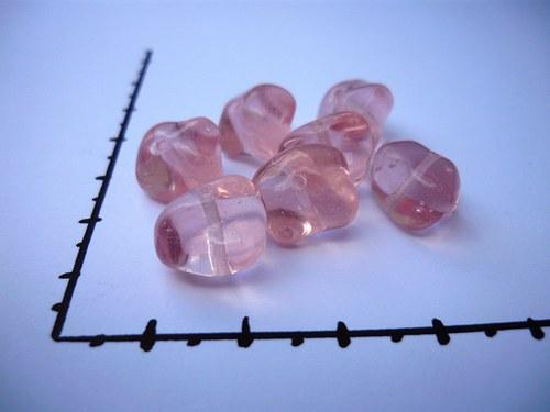 Korálky mačkané růžové 12x10mm, 8 ks