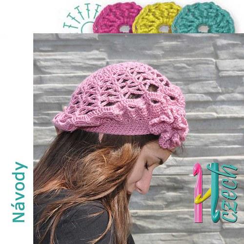 Háčkovaný baret růžový vzorovaný