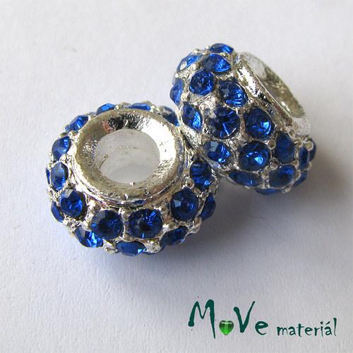 Korálek šatonový s širokým průvlekem 1 kus, modrý