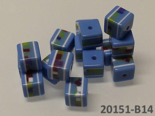 20151-B14 Korálky kostky mozaika MODRÉ bal.10ks