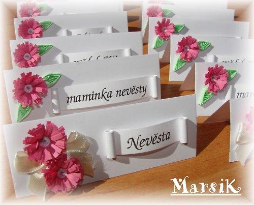Květinové svatební jmenovky