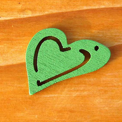 Dřevěné Dvojité Srdíčko - 2ks - Zelené