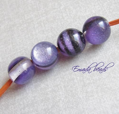 Resin korále s leskem, fialová 1,2 cm
