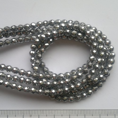 hematit 9 korálky 0,4 cm, 5 kusů