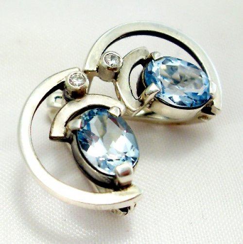 Náušnice «Sputnik» - stříbro 925, modrý topaz
