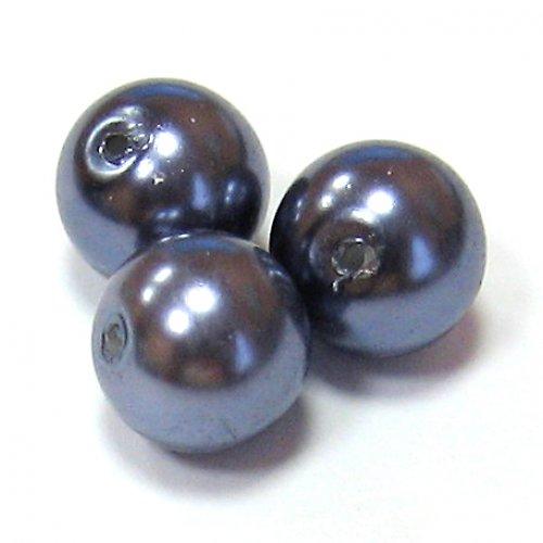 Perly voskové - 10 mm - šedomodrá - 10 ks