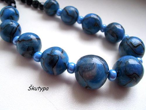 Korále modré žíhané - VÝPRODEJ