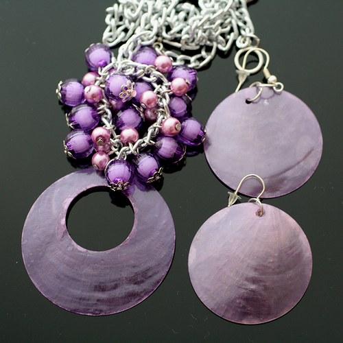 Fialová perleťová sada - náhrdelník+náušnice