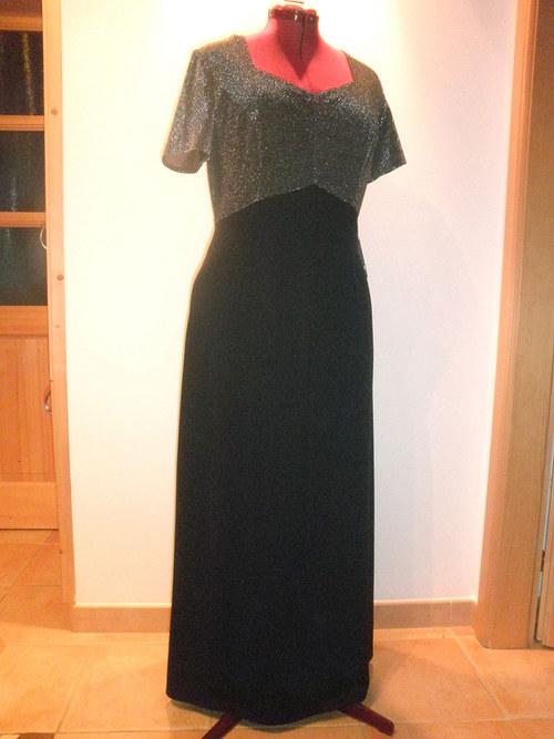 Černé dlouhé společenské šaty 223-vel. 48