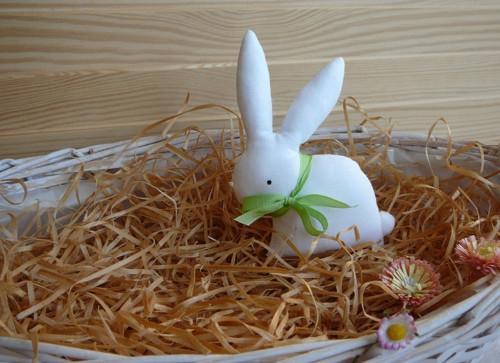 Zajíček - bílý, sv. zelená mašlička