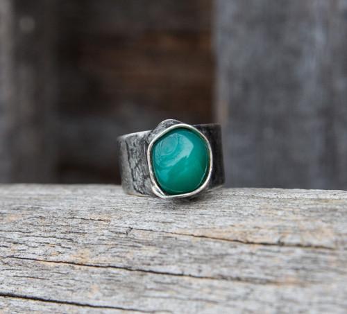 Zelený achát - prsteň