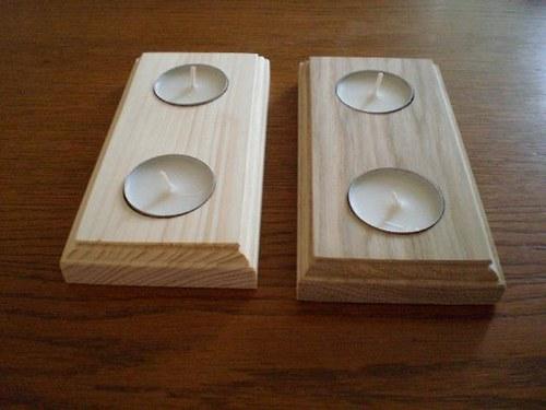SVÍCEN z přírodního dřeva na 2 svíčky. světlý