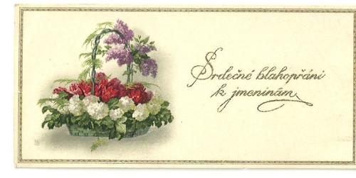 Tvrdá kartička srdečné prání k jmeninám