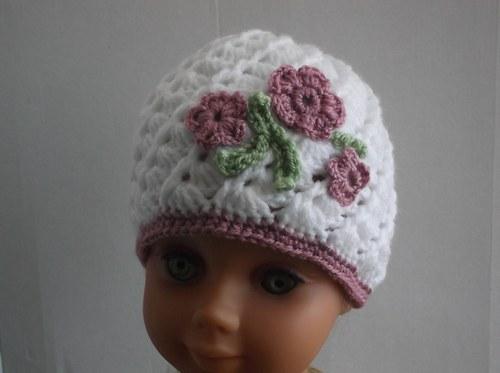 Návod 10.Bílá čapka pro holčičky s kytíčkami 40-44