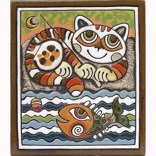 Keramický obrázek - Kočka rybář K-106-Z