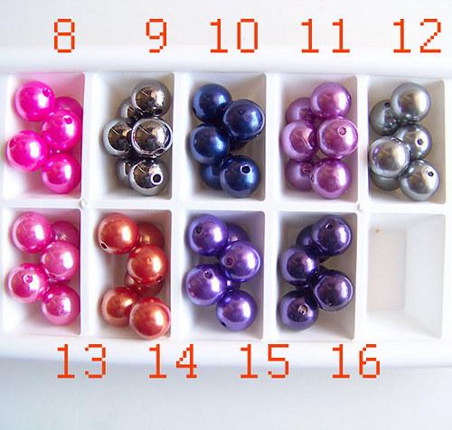 perly voskové/ antracit č.9/ 13mm/ 4ks