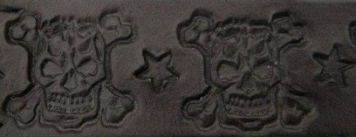 kožený obojek lebky,hvězdy,3 cm