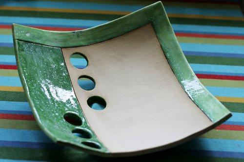 Keramická mísa zeleno - zelená s kolečky