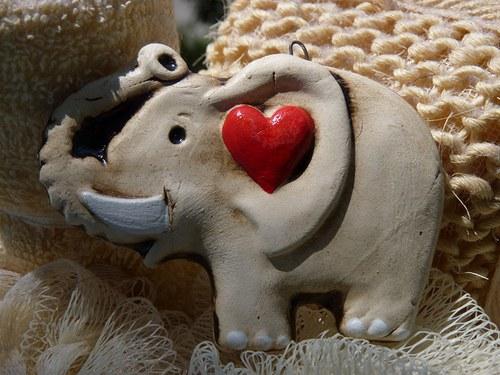 Sloník pre šťastie so srdiečkom
