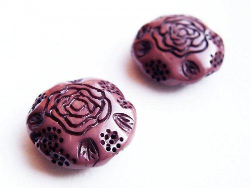 Hnědé kolečko s růžičkou ((KOM58))