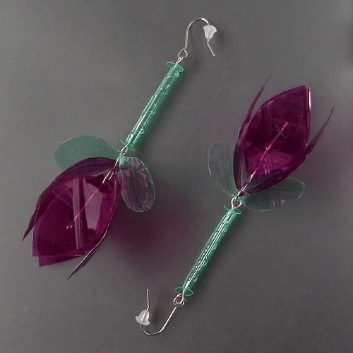 Náušnice Fuchsia-Růž-Zel