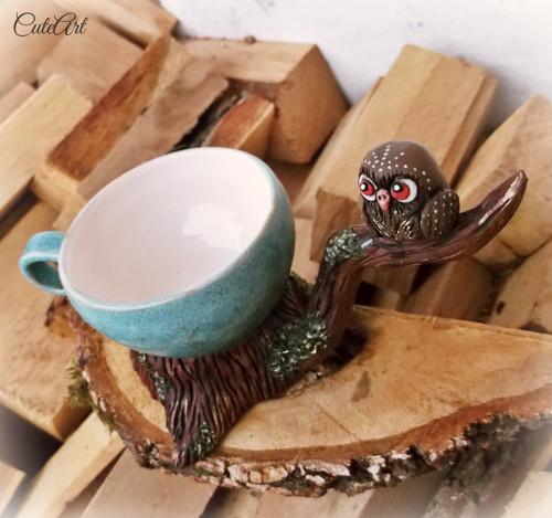 Čaj múdrosti - sova so šálkou...