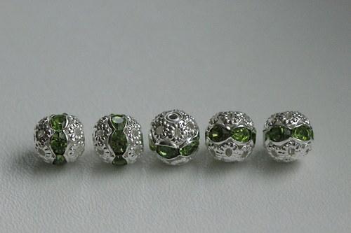 Šatonové kuličky 8mm - zelené - 5ks