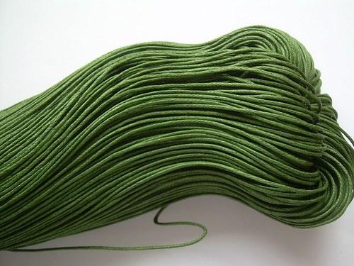 Povoskovaná šňůra olivově zelená - 10 m